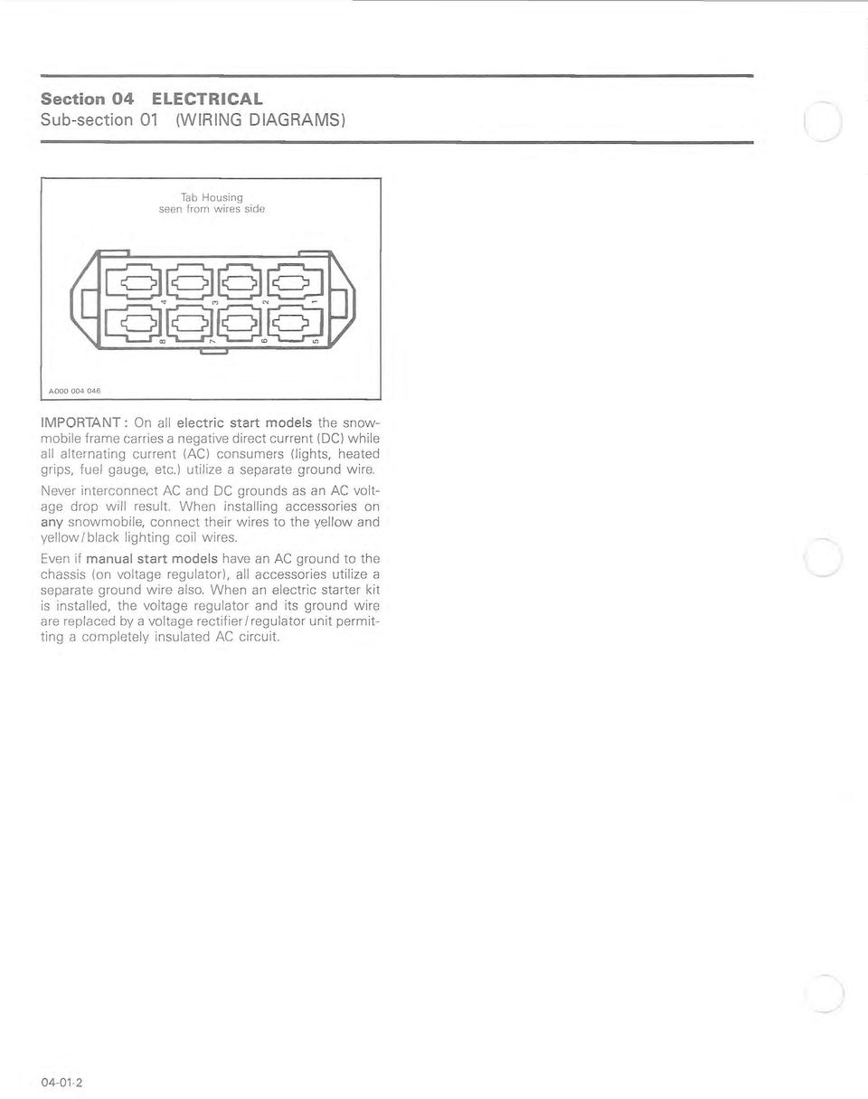 Wiring Diagrams Chart Codes Section 04 Electrical Sub 01 Model A Diagram When Installing Accessories On Any Snowmobile Connect Their Wires To The Yellow And Black