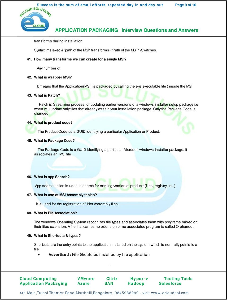 APPLICATION PACKAGING Interview Questions and Answers - PDF