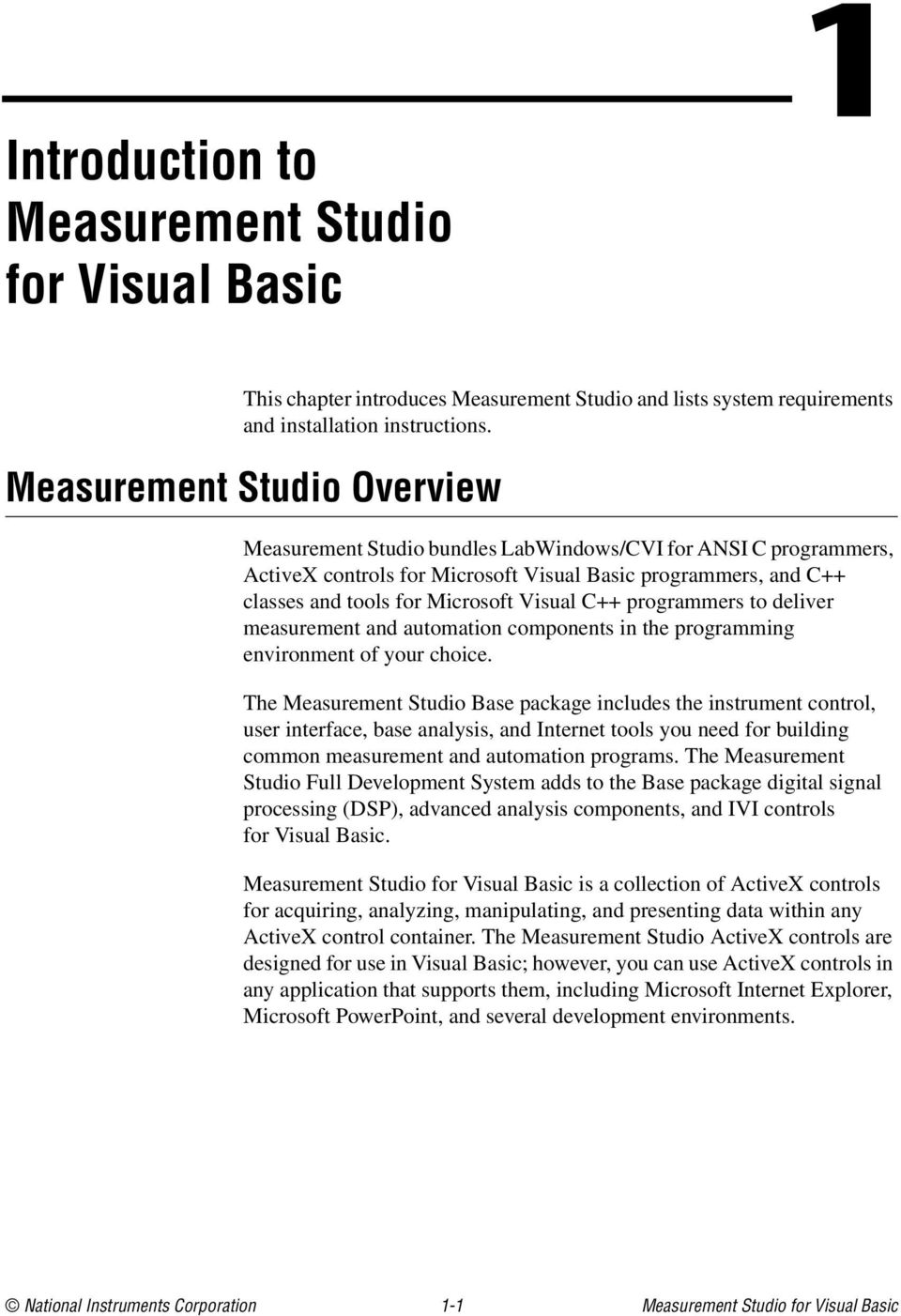 Getting Started with Measurement Studio for Visual Basic - PDF