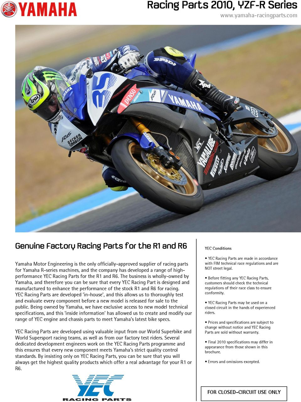 Racing Parts 2010 Yzf R Series Pdf Yamaha R6 Wiring Diagram Range Of Highperformance Yec For The R1 And