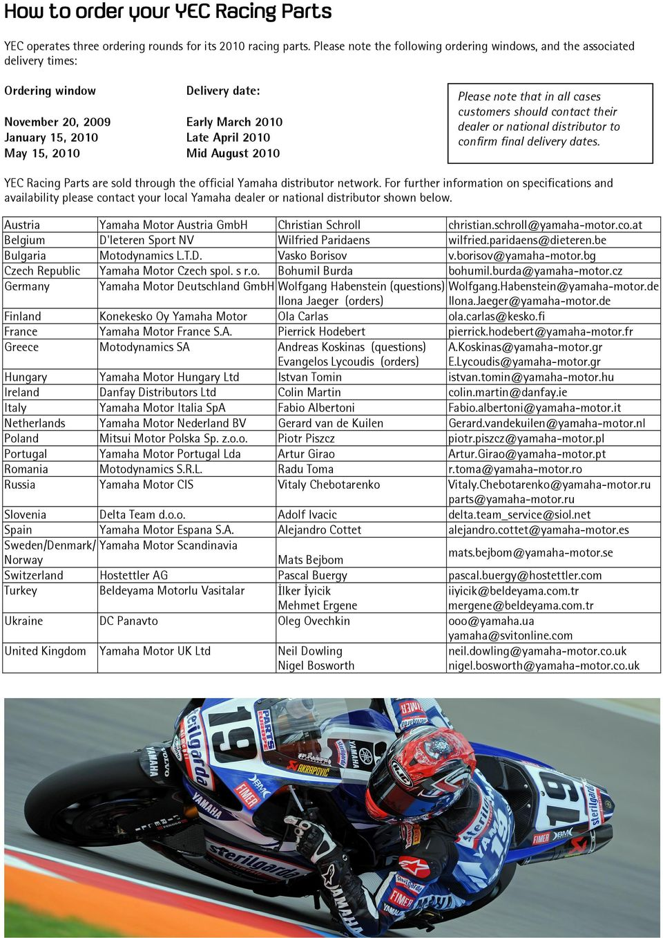 Racing Parts 2010 Yzf R Series Pdf Yamaha R6 Wiring Diagram August Please Note That In All Cases Customers Should Contact Their Dealer Or National Distributor 3