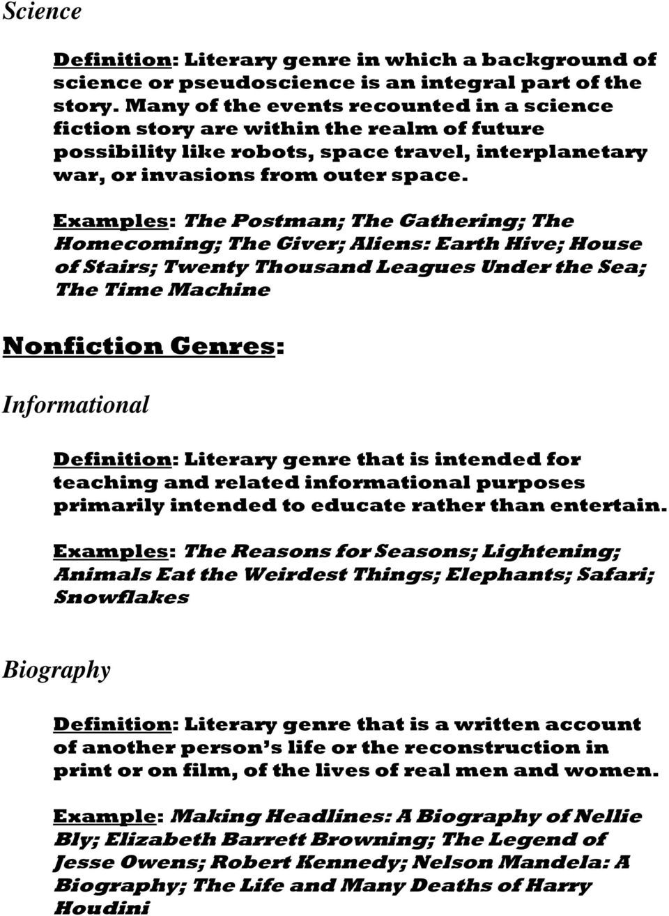 genre definition and examples in literature