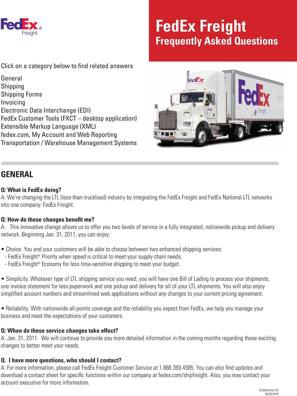 Fedex Freight Frequently Asked Questions Pdf