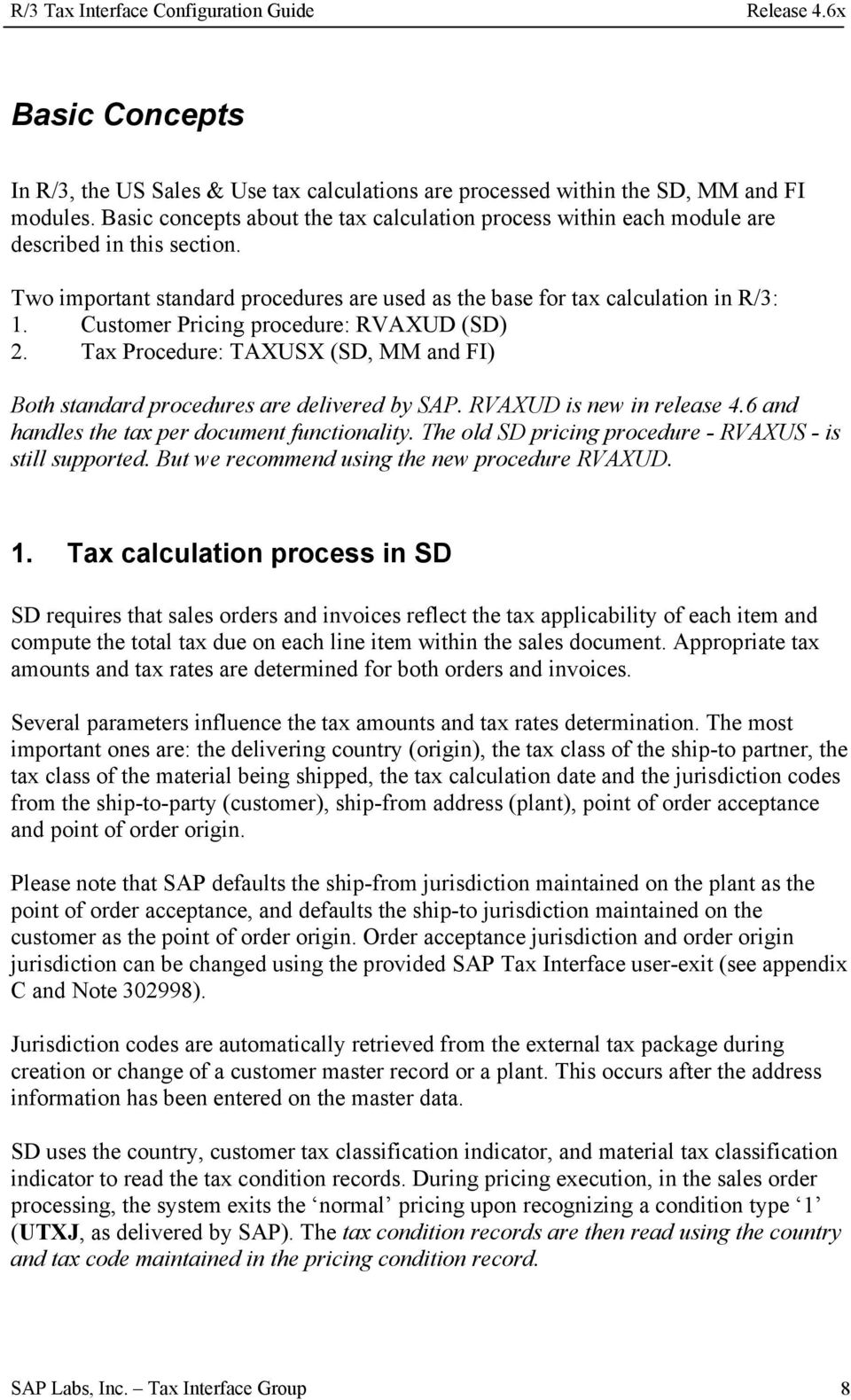 R/3 Tax Interface Configuration Guide Release 4 6x - PDF