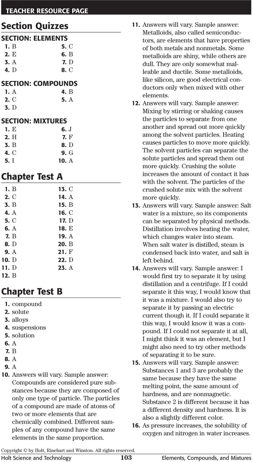 Chapter Test A Elements Compounds And Mixtures Multiple Choice