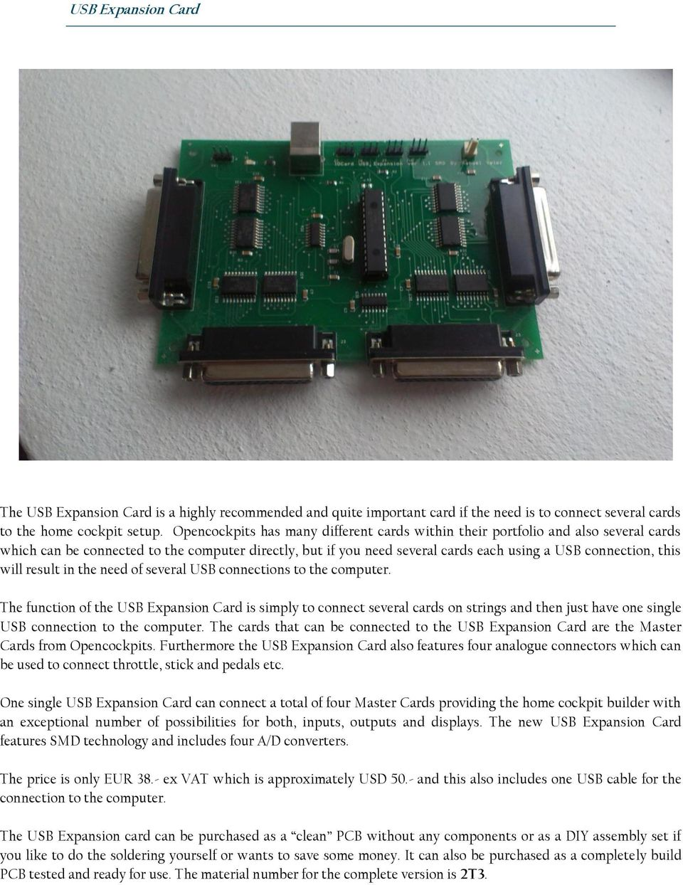 Review Of 4x Iocards Pcbs Manufactured By Opencockpits Pdf Circuit Is Correct Or Not And Thisalso Will Display The Output Like In Result Need Several Usb Connections To Computer