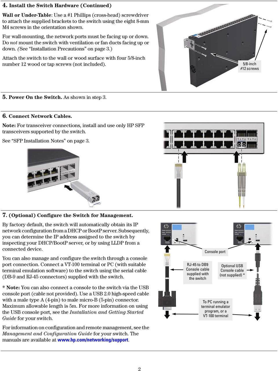 Hp Port And 48 Switches Quick Setup Guide Pdf Power Over Ethernet Wiring Diagram Note The Dmx Attach Switch To Wall Or Wood Surface With Four 5 8