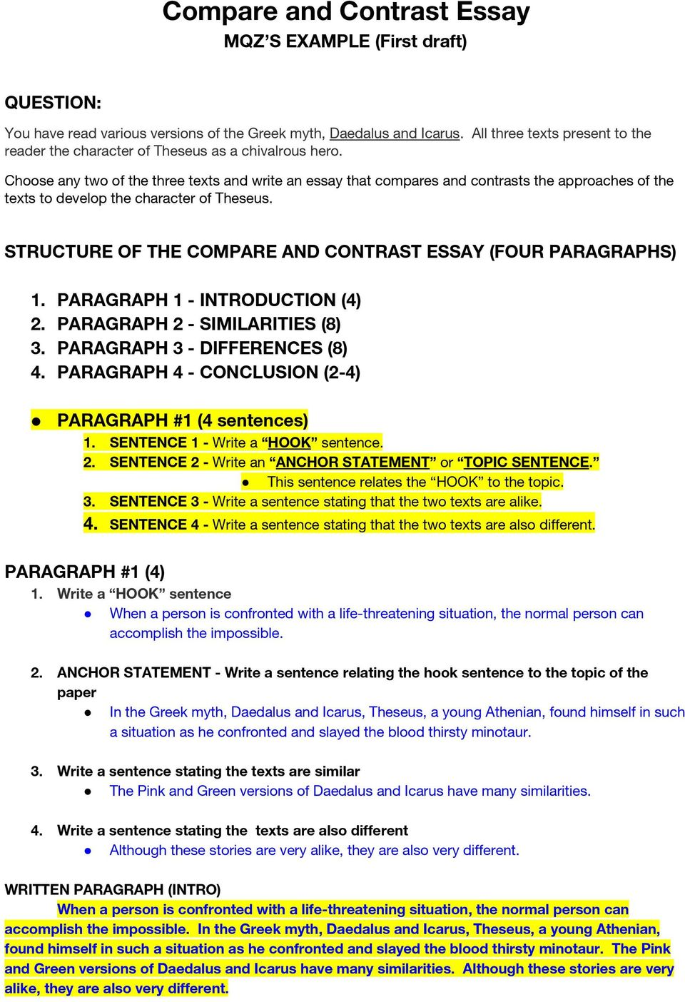 compare and contrast essay   pdf structure of the compare and contrast essay four paragraphs  paragraph