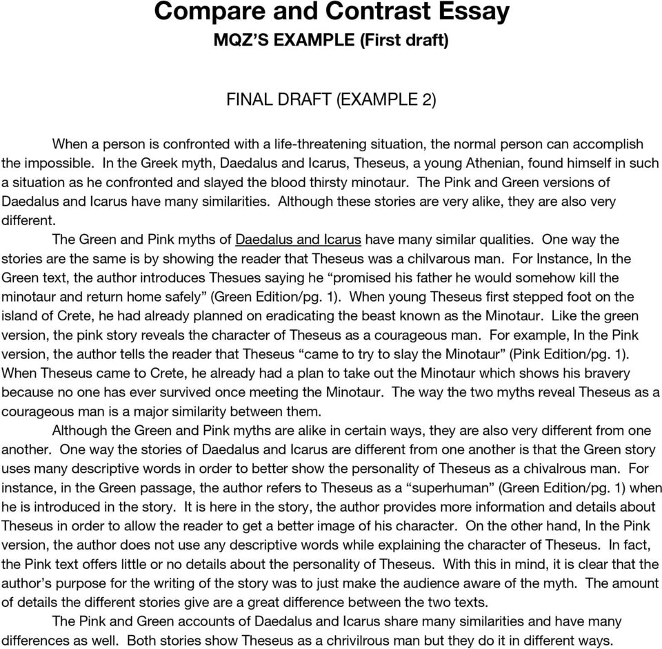 compare and contrast essay   pdf the pink and green versions of daedalus and icarus have many similarities  although these stories