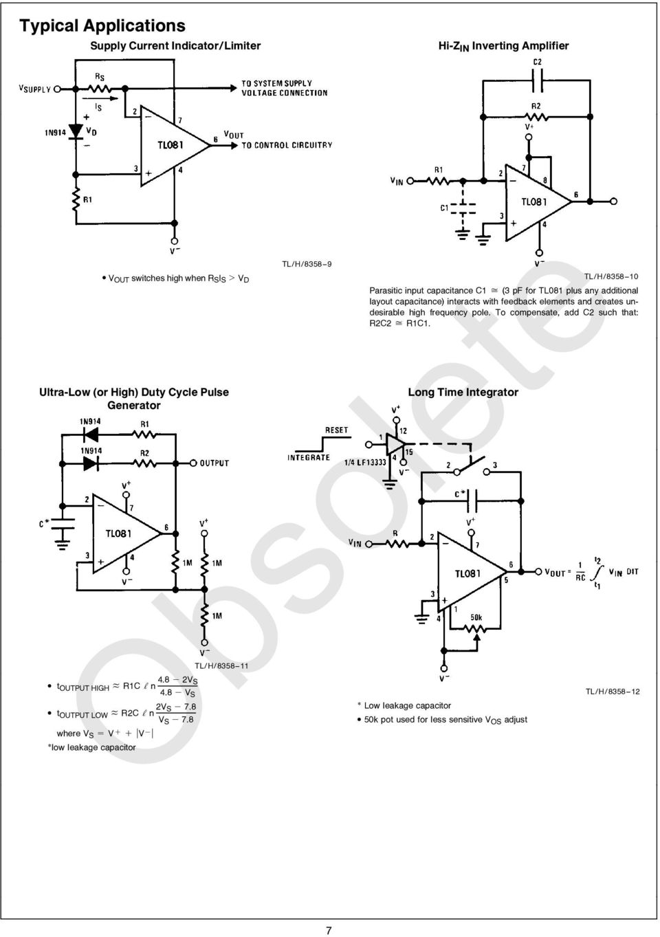 Tl081 Wide Bandwidth Jfet Input Operational Amplifier Pdf Current Circuit Diagram Made Up Of Lf356 And Others Power 8358 9 Tl H 10 Parasitic Capacitance C1 J 3 Pf For