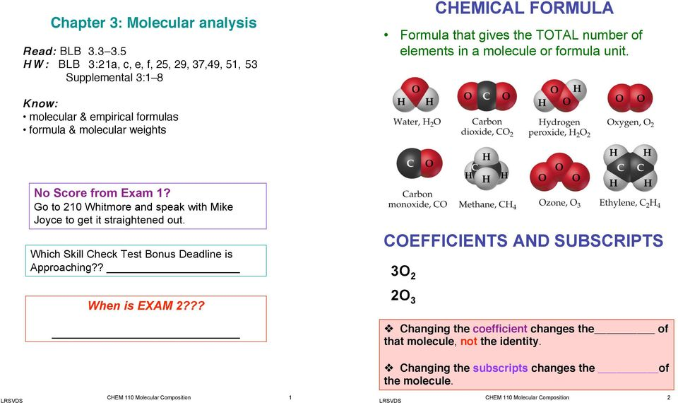 Know: molecular & empirical formulas formula & molecular weights No Score from Exam 1? Go to 210 Whitmore and speak with Mike Joyce to get it straightened out.