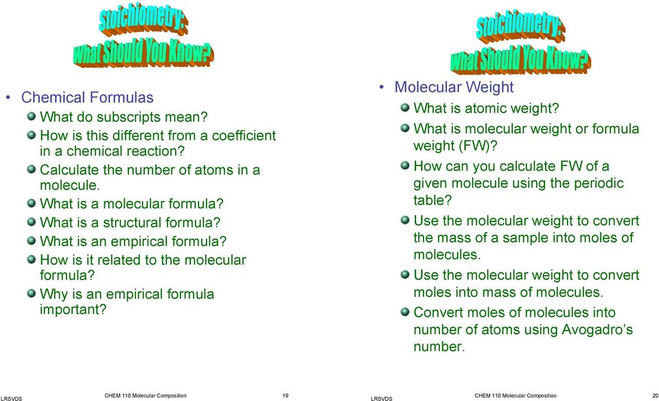 What is molecular weight or formula weight (FW)? How can you calculate FW of a given molecule using the periodic table?