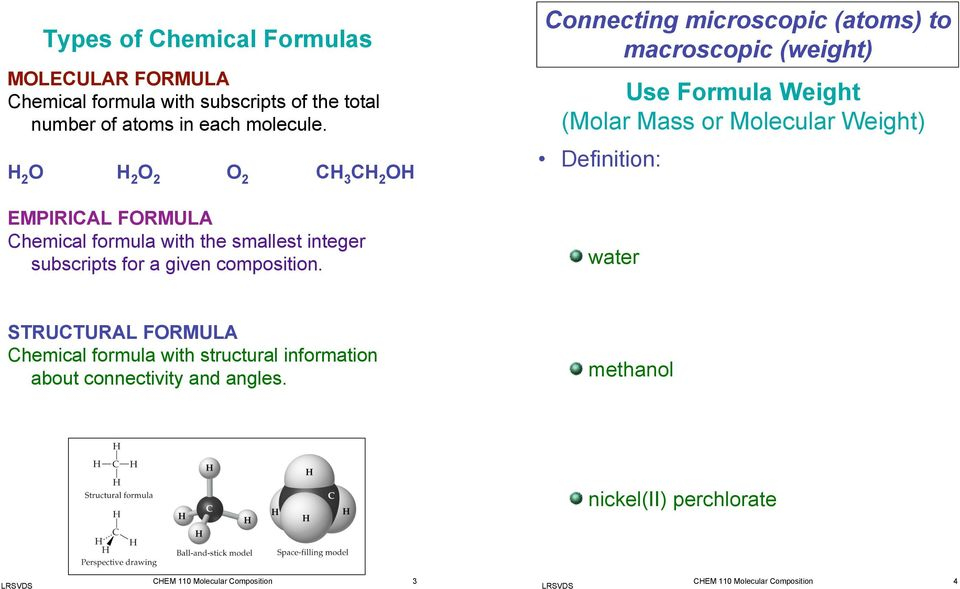 Connecting microscopic (atoms) to macroscopic (weight) Use Formula Weight (Molar Mass or Molecular Weight) Definition: water STRUCTURAL