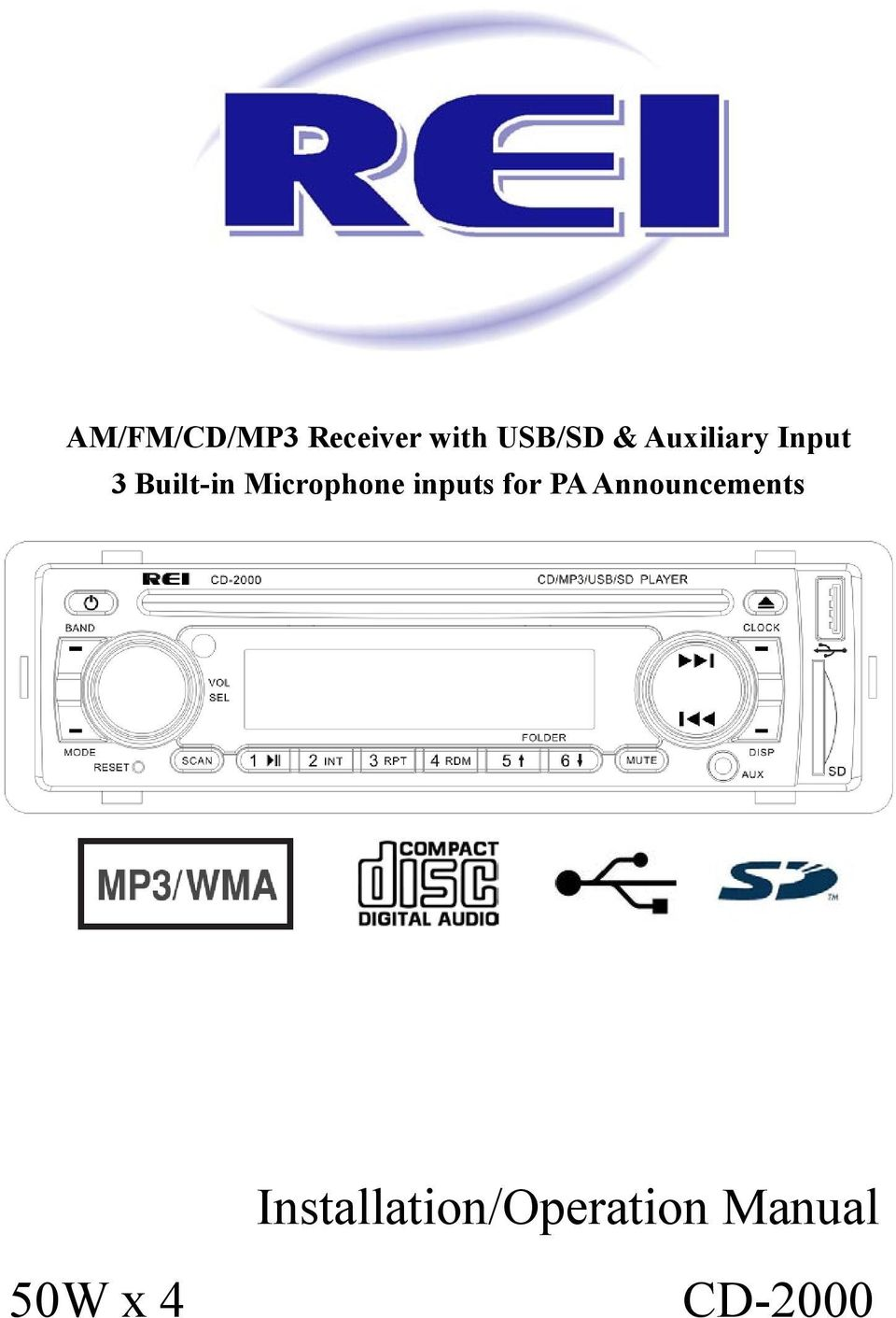 Am Fm Cd Mp3 Receiver With Usb Sd A U Xiliary Input 3 Built In Iphone Tools Installation Instructions Wire Diagrams Stereo Inputs For P Announcements