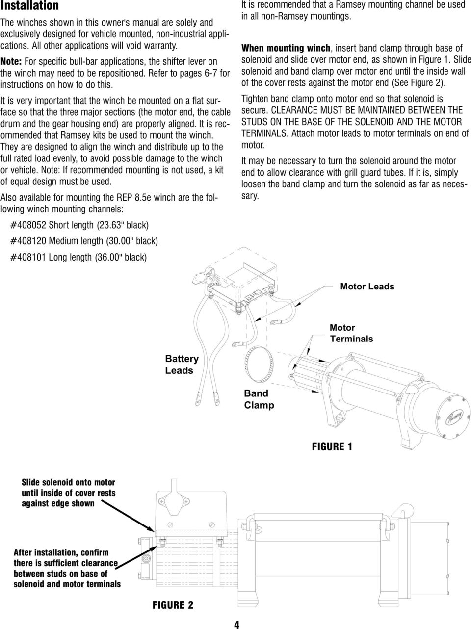 Ramsey Winch Company OWNER S MANUAL Model REP 8.5e Front ... on