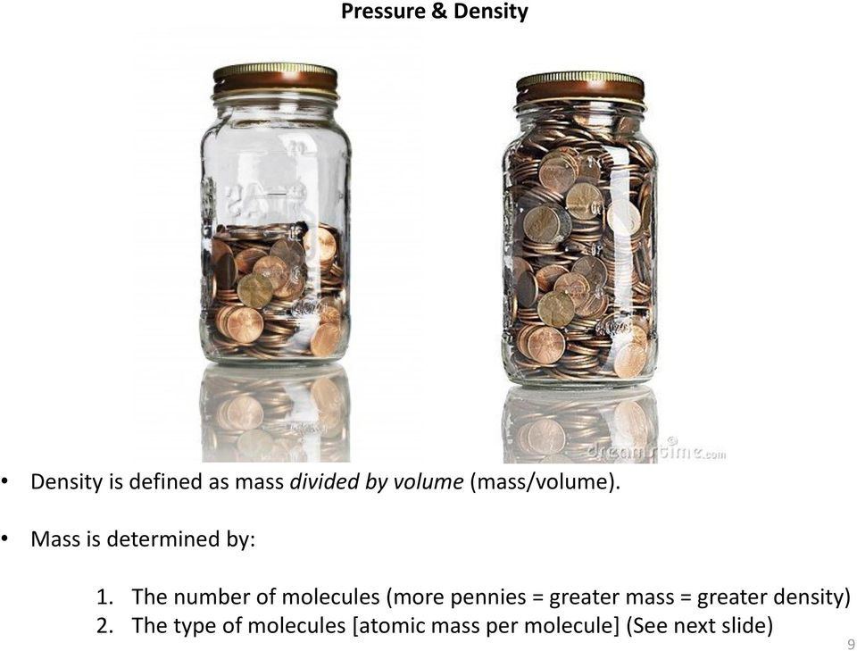 The number of molecules (more pennies = greater mass =