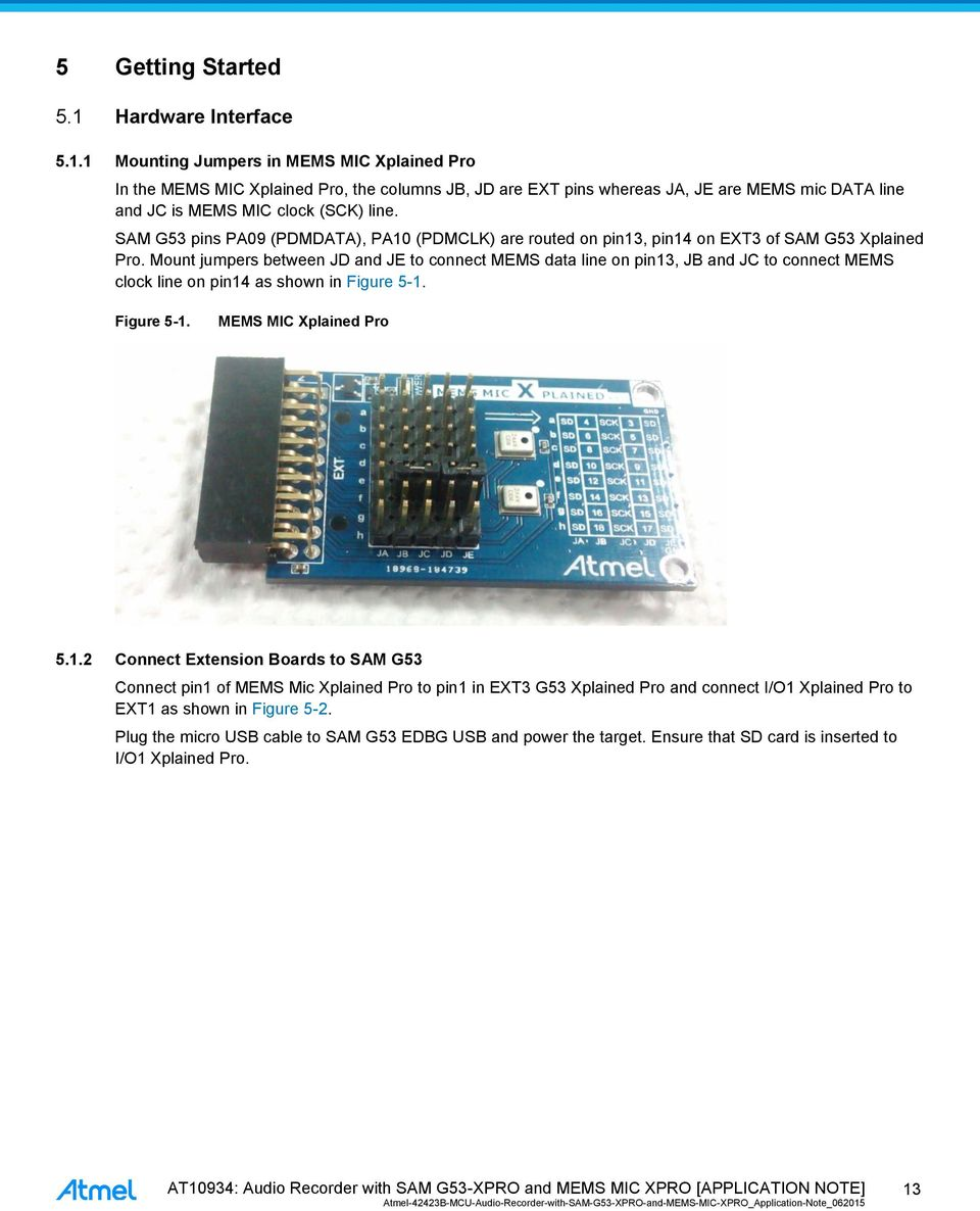 APPLICATION NOTE  AT10934: Audio Recorder with SAM G53-XPRO