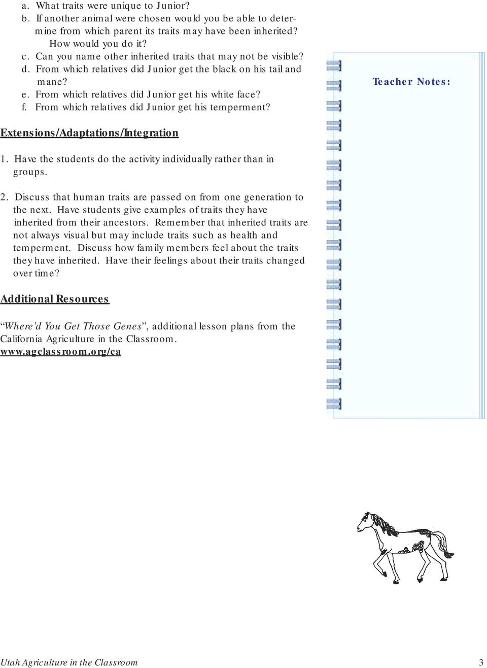 Worksheets Inherited Traits Worksheet junior s family tree inherited traits of animals pdf teacher notes extensionsadaptationsintegration 1 have the students do activity