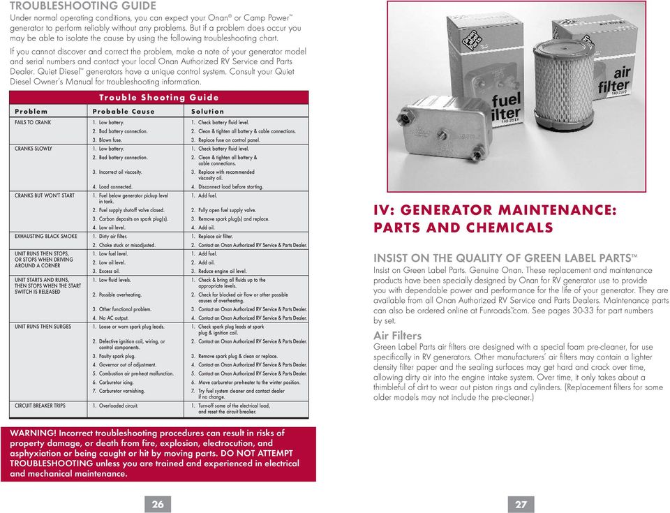 Owner s Handbook  for the world s most-trusted RV generators  - PDF