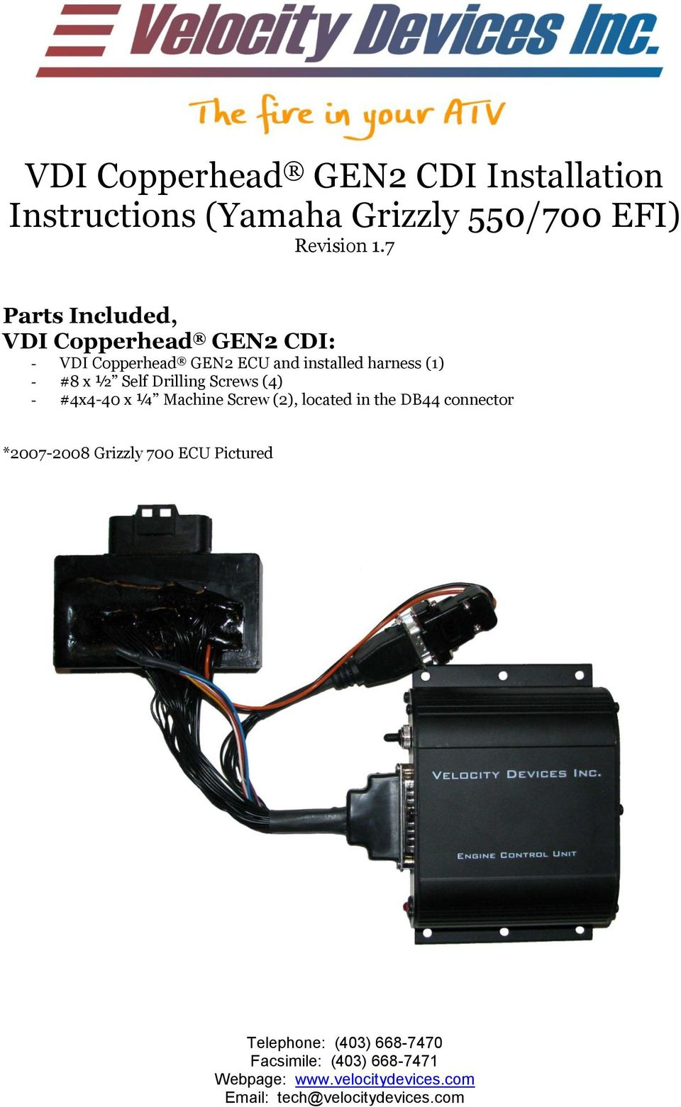 vdi copperhead gen2 cdi installation instructions yamaha grizzly rh docplayer net