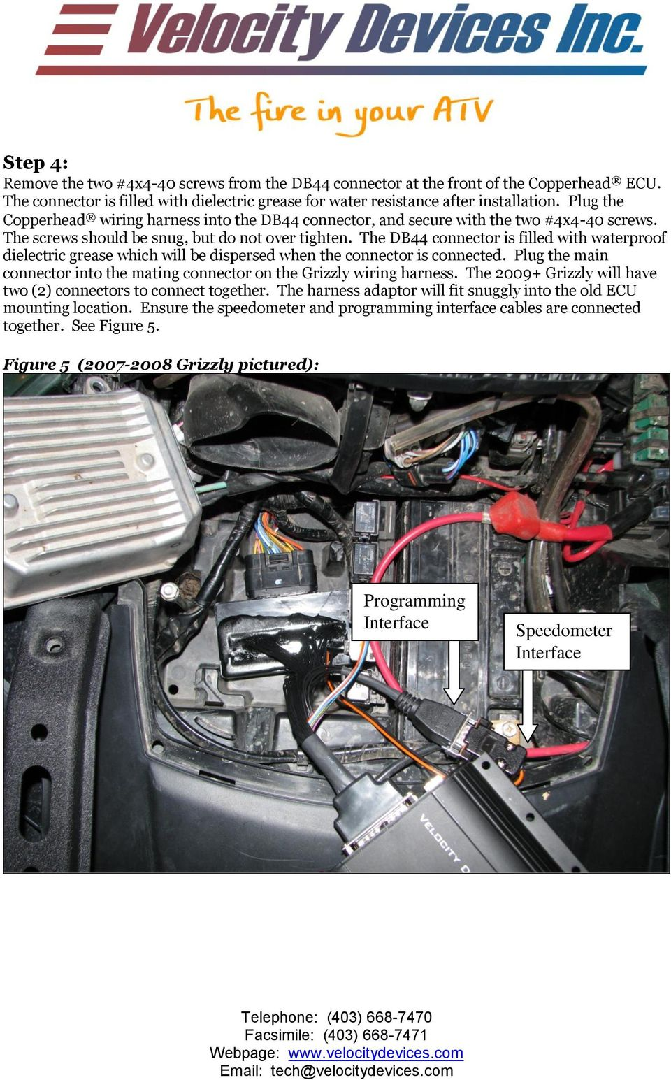 Vdi Copperhead Gen2 Cdi Installation Instructions Yamaha Grizzly Circuit And Wiring Diagram For Dual Fire Capacitor Discharge Ignition System From Ems The Db44 Connector Is Filled With Waterproof Dielectric Grease Which Will Be Dispersed When