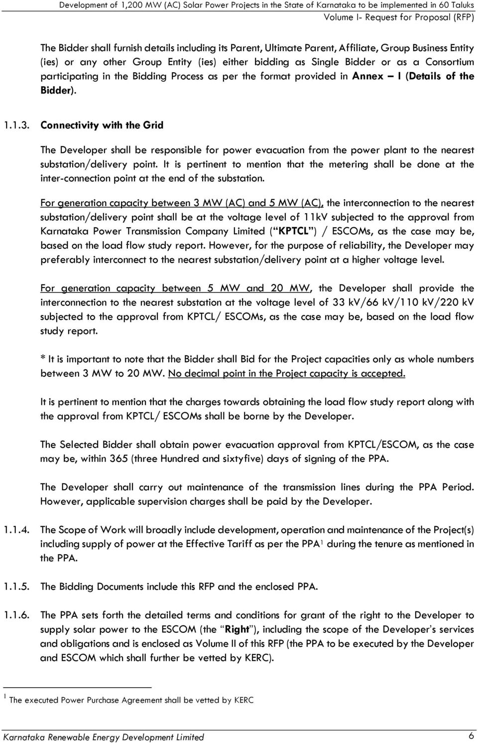 Request for Proposal DEVELOPMENT OF 1,200 MW (AC) SOLAR POWER