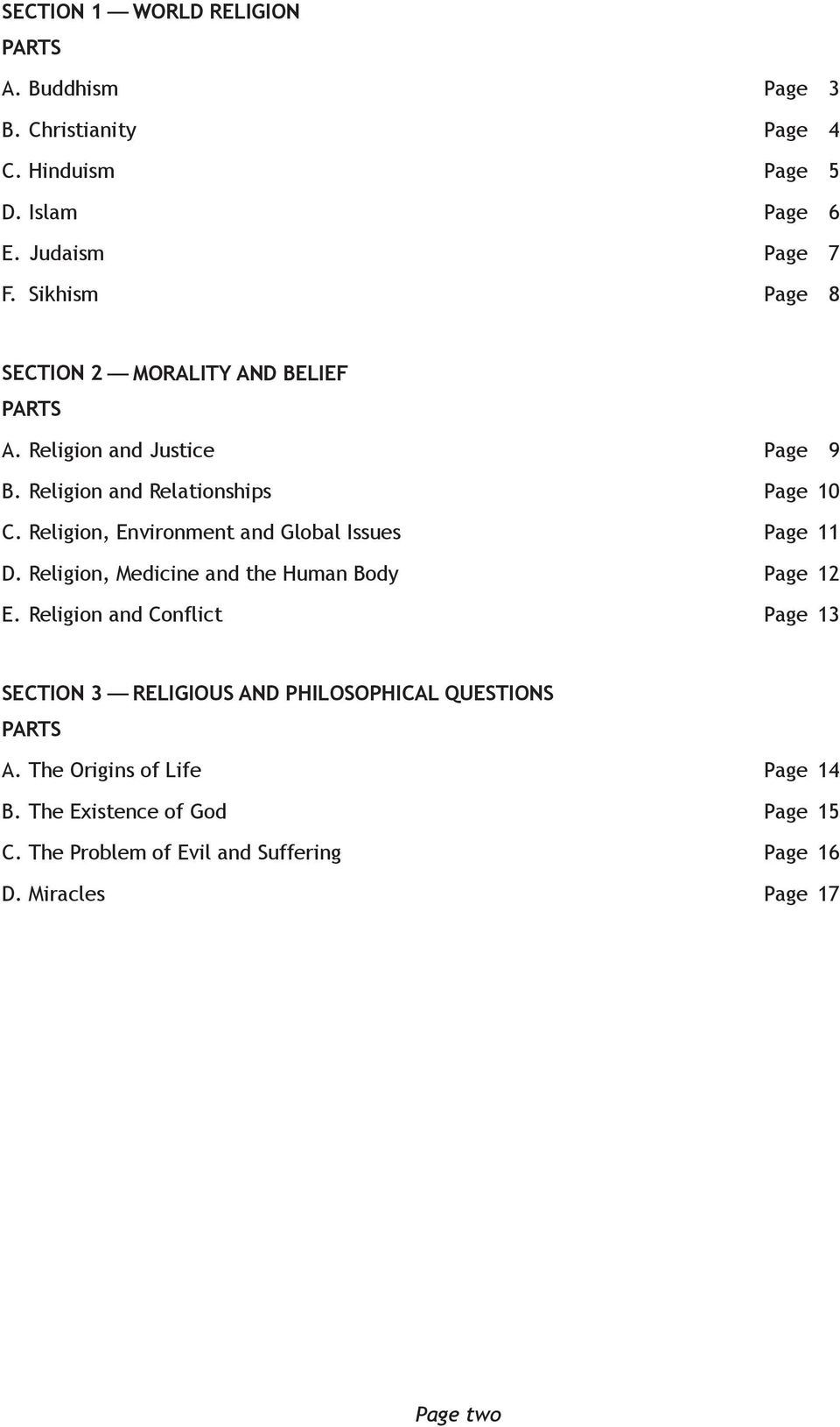 Religion, Environment and Global Issues Page 11 D. Religion, Medicine and the Human Body Page 12 E.