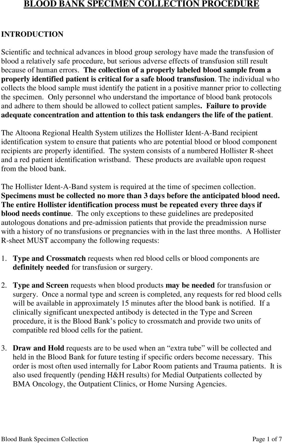 Blood Bank Specimen Collection Procedure Pdf
