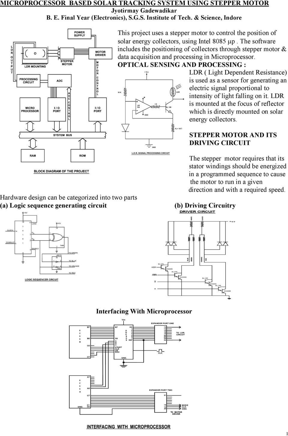 Interfacing With Microprocessor Pdf The Circuit Uses An Ldr Or Light Dependent Resistor Software Includes Positioning Of Collectors Through Stepper Motor Data Acquisition And Processing In