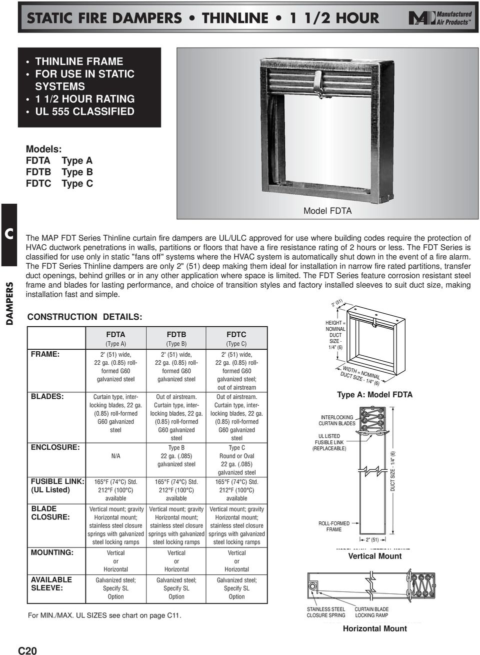 Curtain Type Fire Dampers Pdf Alarm Wiring Diagram Damper The Fdt Series Is Classified For Use Only In Static Fans Off Systems Where
