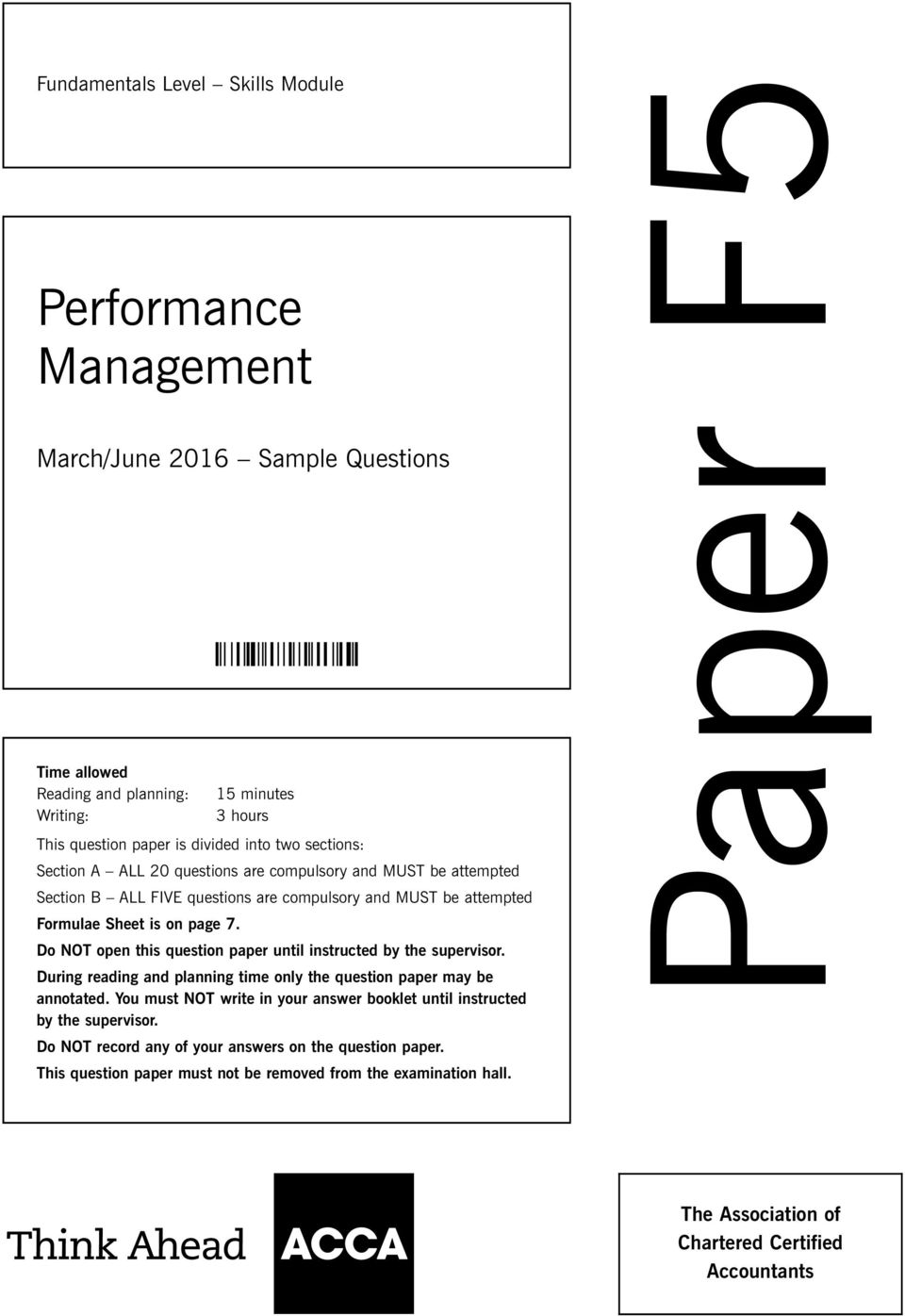Paper F5  Performance Management  March/June 2016 Sample Questions