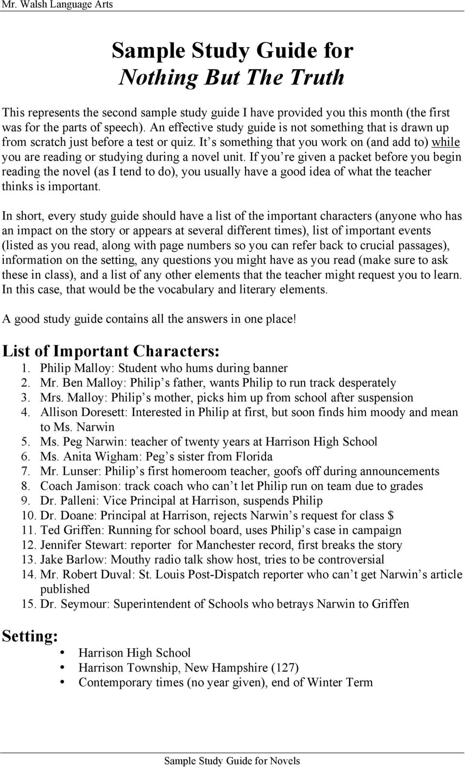 Sample Study Guide for Nothing But The Truth - PDF