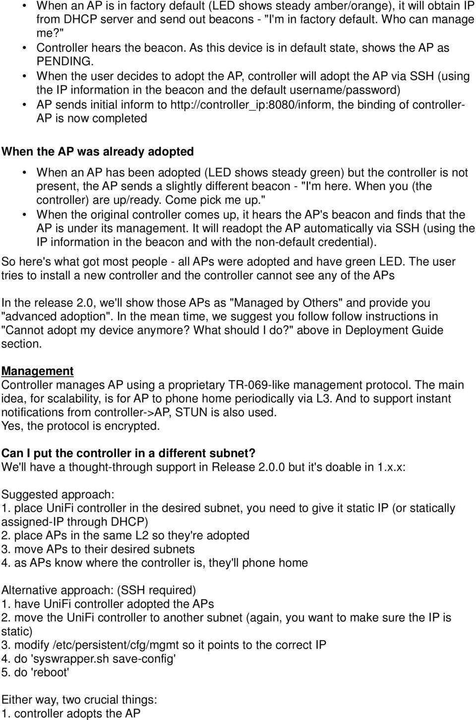 UNIFI Questions Extract from Ubiquiti Forum August PDF