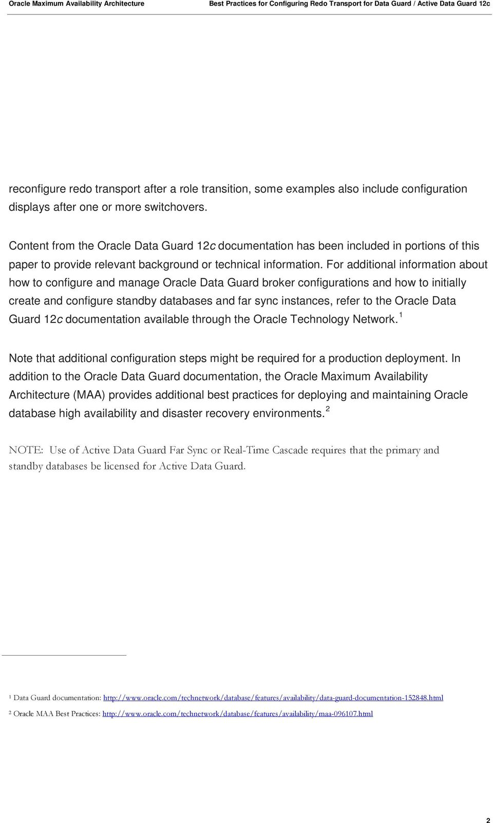 An Oracle White Paper March Oracle Data Guard Broker  Best
