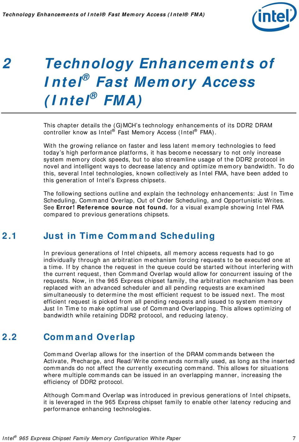 Intel 965 Express Chipset Family Memory Technology and