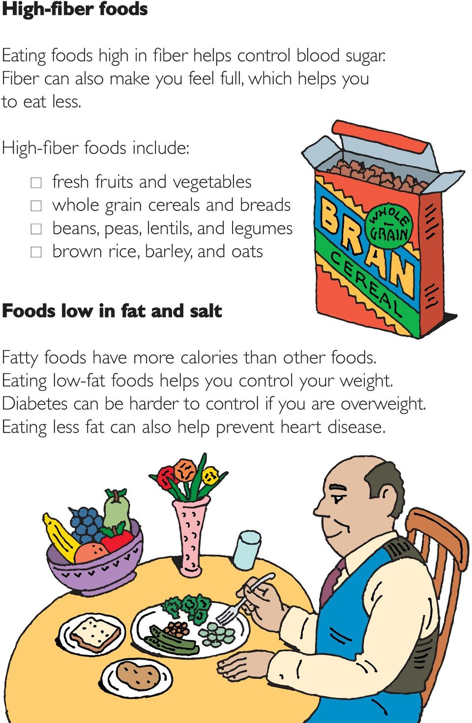 High-fiber foods include: fresh fruits and vegetables whole grain cereals and breads beans, peas, lentils, and legumes brown