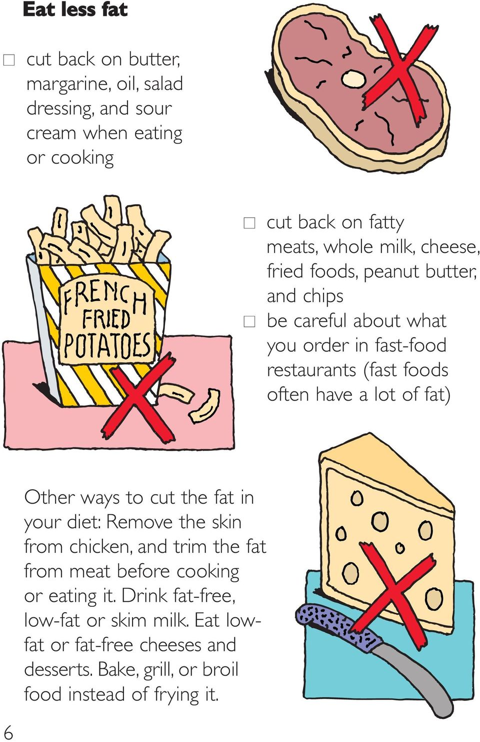 lot of fat) Other ways to cut the fat in your diet: Remove the skin from chicken, and trim the fat from meat before cooking or eating