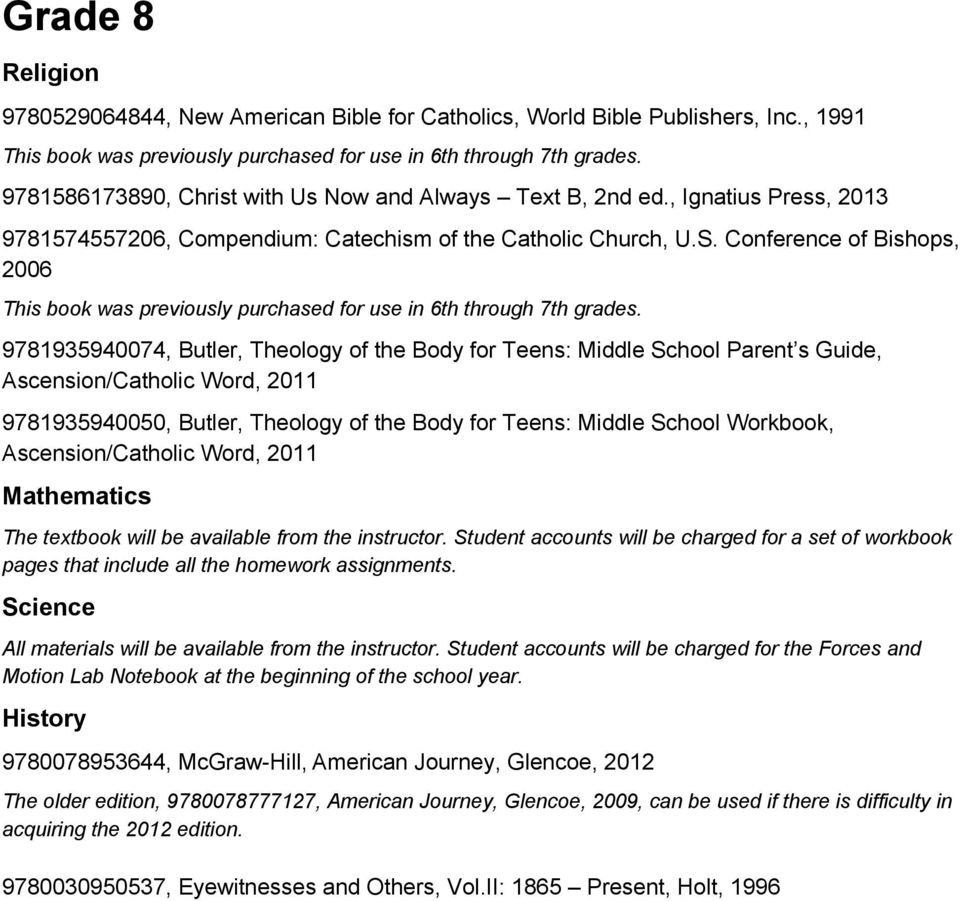 Middle school textbook list pdf conference of bishops 2006 this book was previously purchased for use in 6th through 7th fandeluxe Image collections