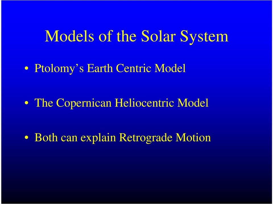 The Copernican Heliocentric