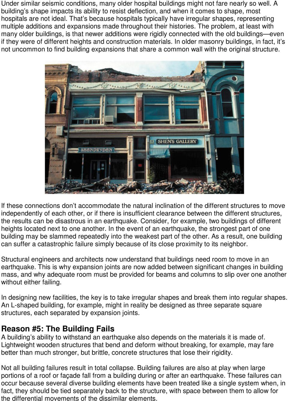 Five reasons buildings fail in an earthquake and how to