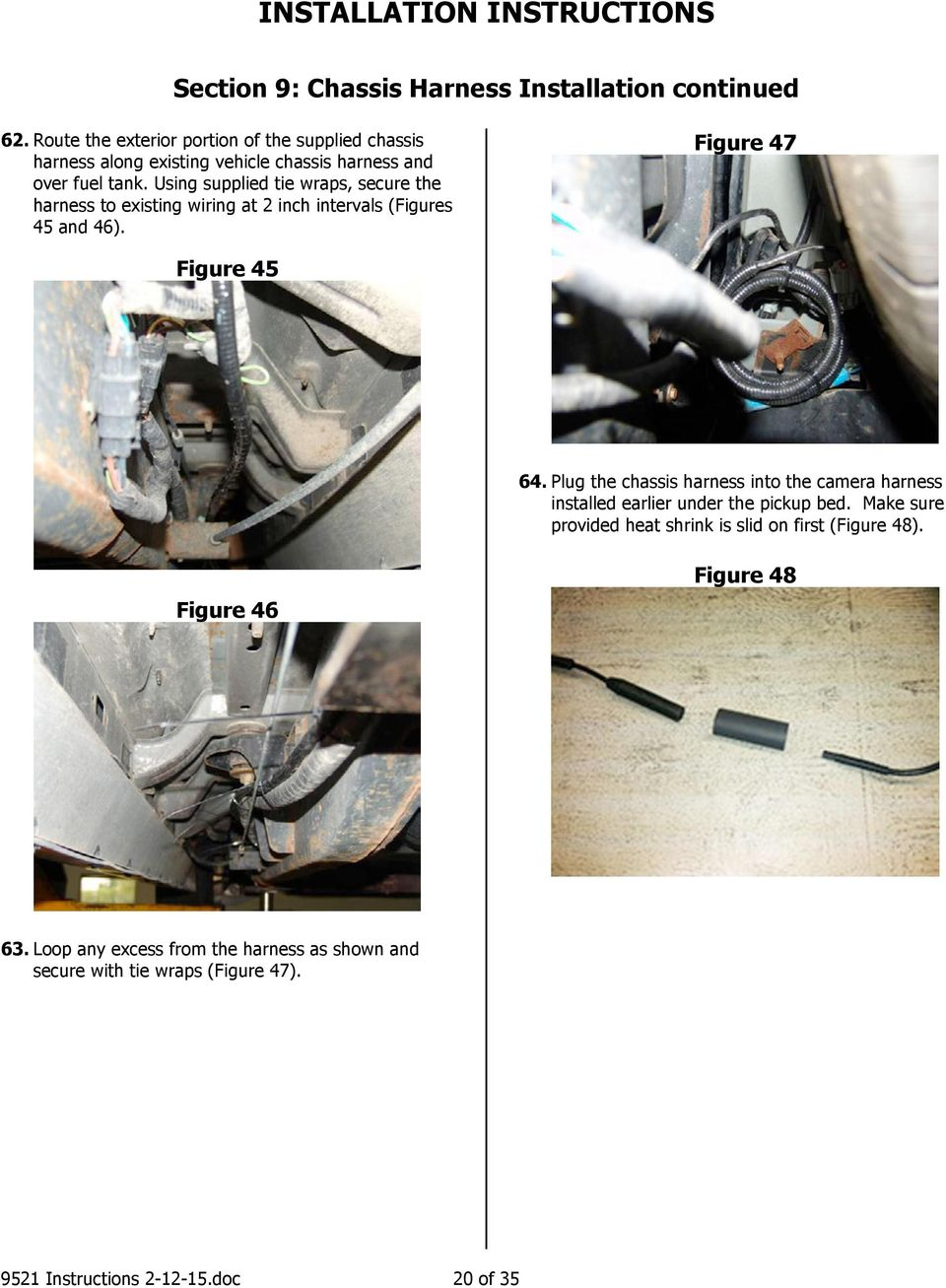 Installation Instructions Pdf Loop Wire Harness Using Supplied Tie Wraps Secure The To Existing Wiring At 2 Inch Intervals