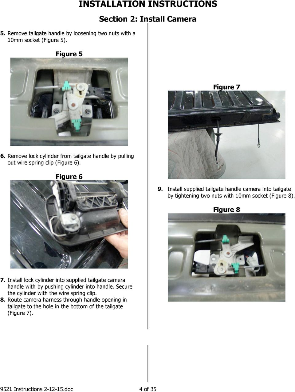 Installation Instructions Pdf How To Install A Trailer Wiring Harness On Volvo Xc90 Car Mods Supplied Tailgate Handle Camera Into By Tightening Two Nuts With 10mm Socket Figure