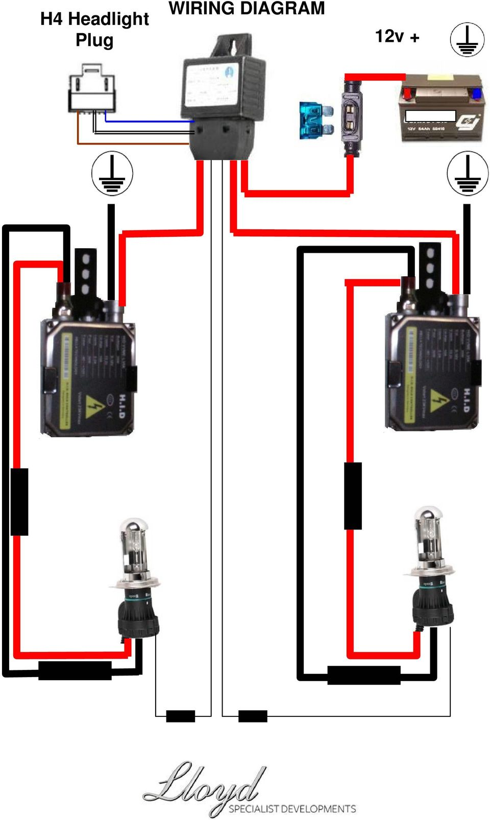Hid H4 Bi Xenon Fitting Guide Carefully Read The Following Notes Headlight Conversion Wiring Diagram 7 Plug 12v