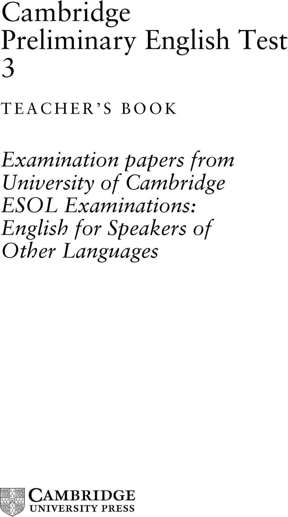 Cambridge Preliminary English Test 3 - PDF