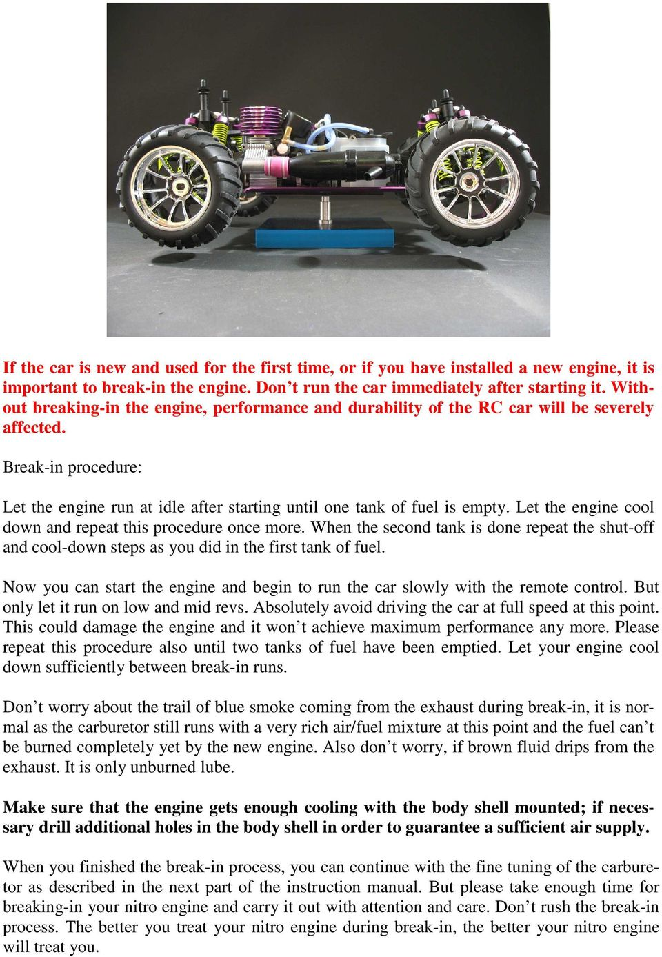 Seben-Racing  Instructions for RC cars with nitro engine  On