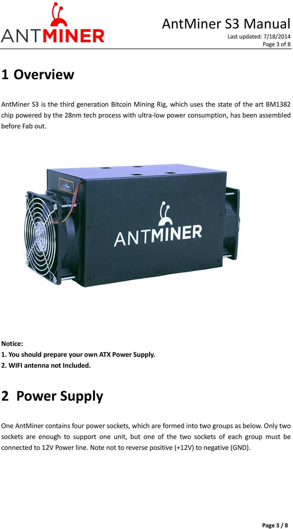 AntMiner S3 Manual Last updated: 7/18/2014 Page 2 of 8  Contents - PDF