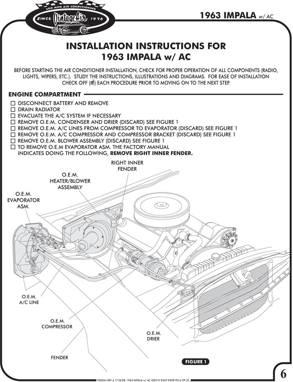 1963 Chevy Impala Gen Iv W Factory Air Pdf F250 7 3l Wiring Diagram Blower Disconnect Battery And Remove Drain Radiator Evacuate The A C System If Necessary Oem Condenser Assembly Installation