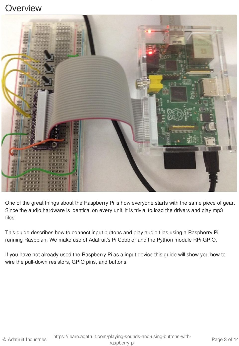 Playing sounds and using buttons with Raspberry Pi - PDF