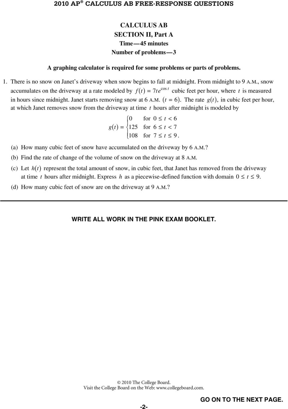 AP Calculus AB 2010 Free-Response Questions - PDF