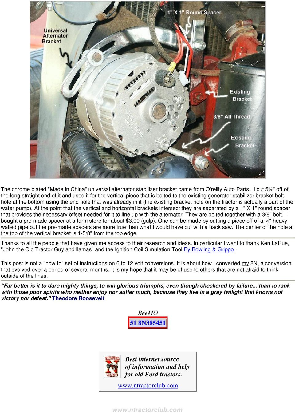 51 Ford 8n 6 To 12 Volt Conversion Side Mount Distributor Pdf Wiring Diagram Besides Tractor In It The Existing Bracket Hole On Is Actually A Part Of
